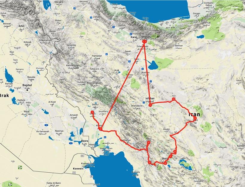 Perzië routekaart Iran