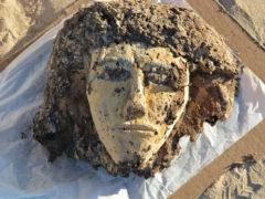 Mummiemasker van een vrouw, uit het grensfort bij Tombos, Soedan, ca. 1500 v.C.